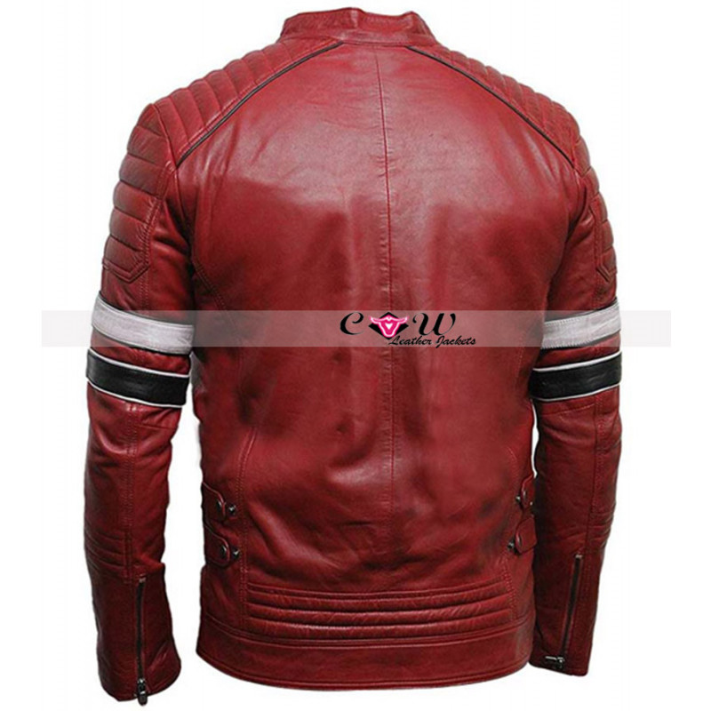 Cafe Racer Mens Stylish Red Biker Jacket