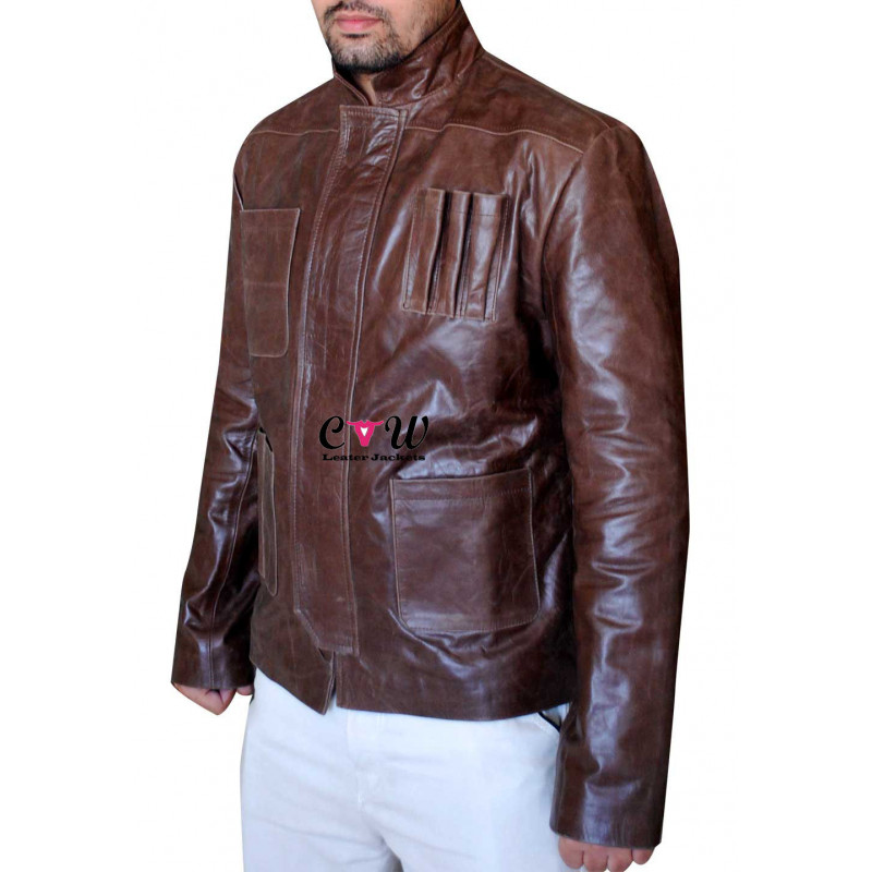 Han Solo Star Wars Force Awakens Distressed Leather Jacket