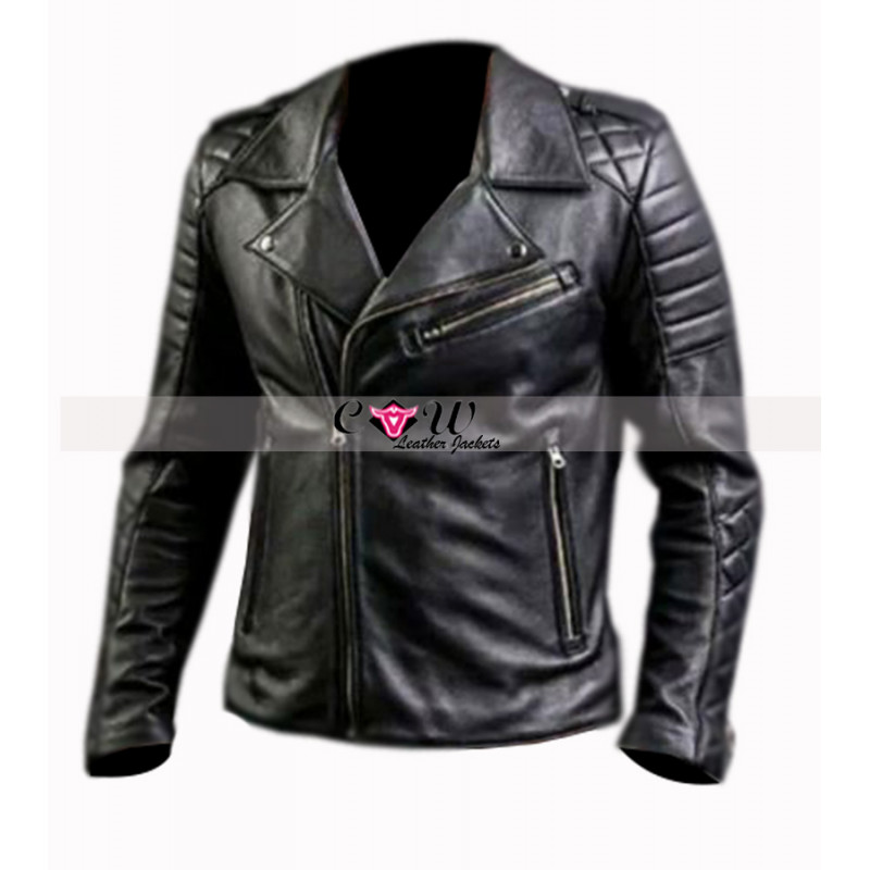 Men's Fashion Slim Fit Quilted Leather Biker Jacket