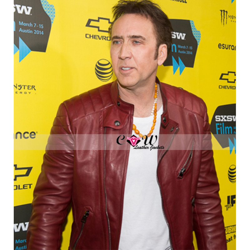 Nicolas Cage Quilted Red Leather Jacket