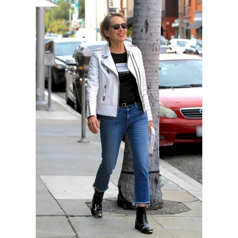 Sharon Stone Quilted Biker Leather Jacket