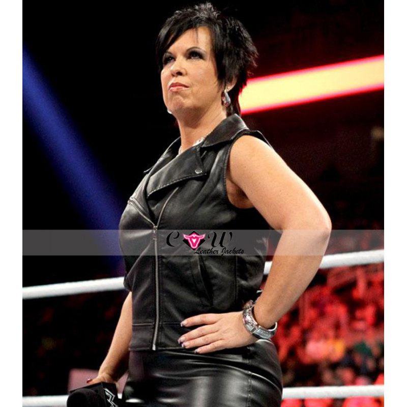 Wwe Vickie Guerrero Black Leather Vest