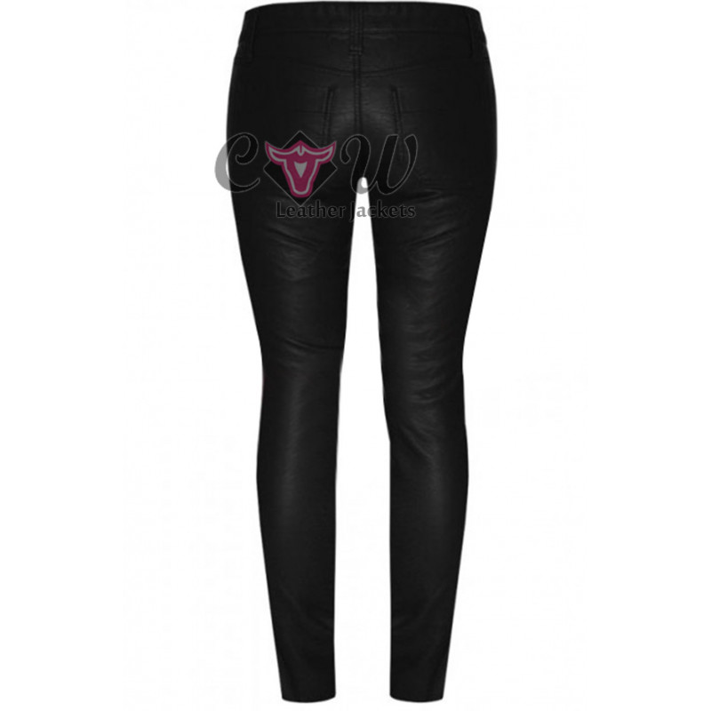 Women Body Fitted Leather Pants