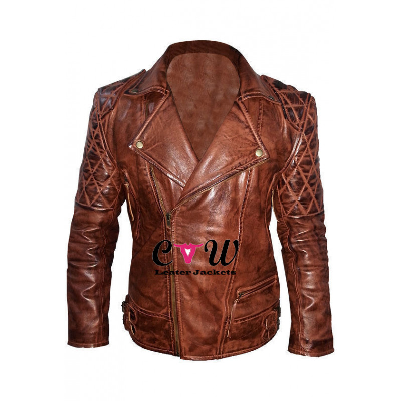 Rustic Vintage Quilted Biker Leather Jacket