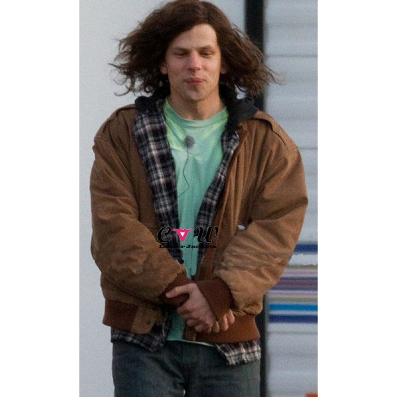 American Ultra Jesse Eisenberg (Mike Howell) Brown Leather Jacket