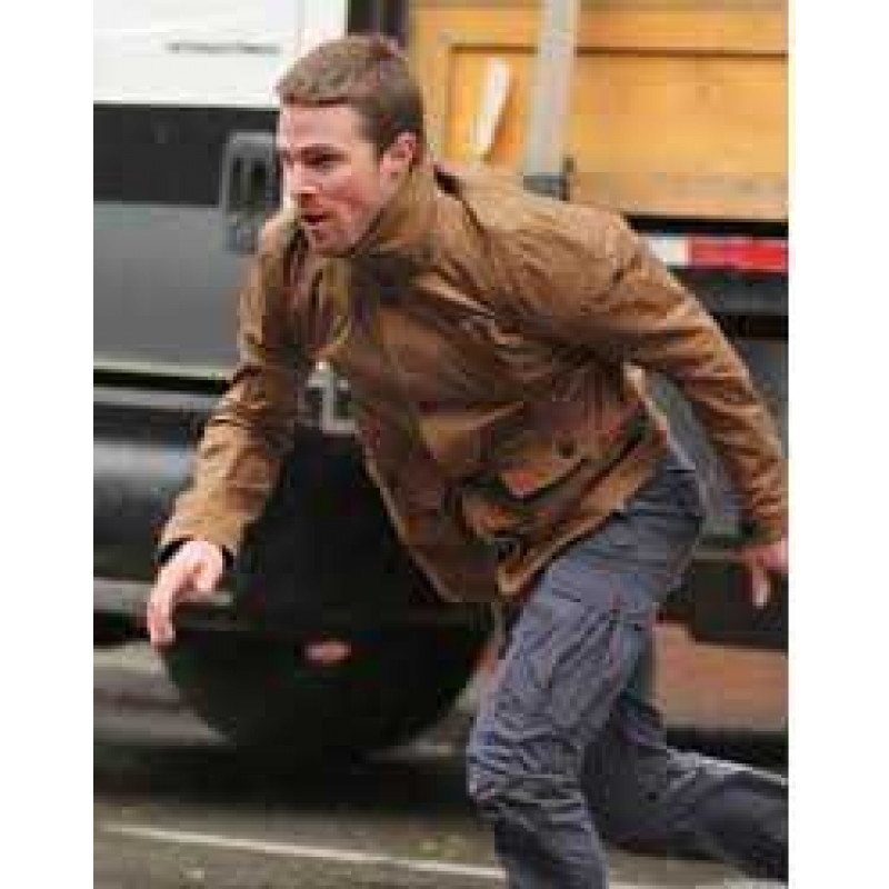 Arrow Stephen Amell Brown Distressed Leather Jacket