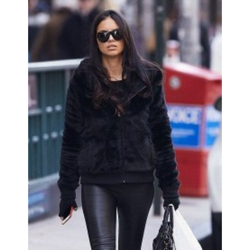 Fashionable Adriana Lima Black Fur Jacket
