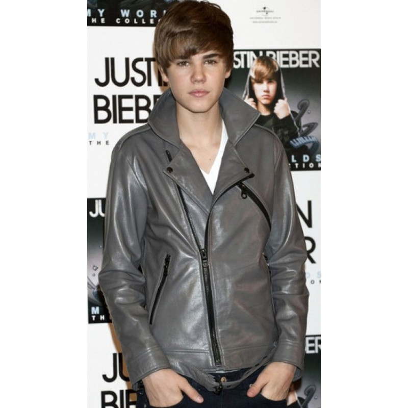 Justin Bieber Belted Rider Grey Leather Jacket