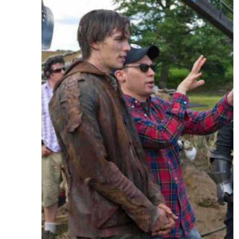 Distressed Brown Leather Jacket Nicholas Hoult :Jack the Giant Slayer