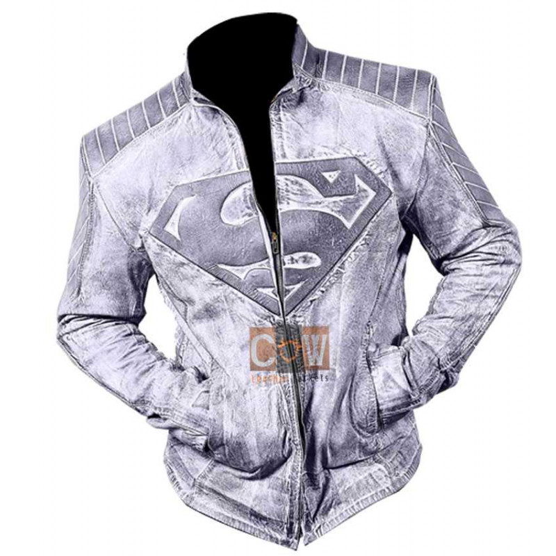 Superman Distressed Style Leather Jacket for Sale