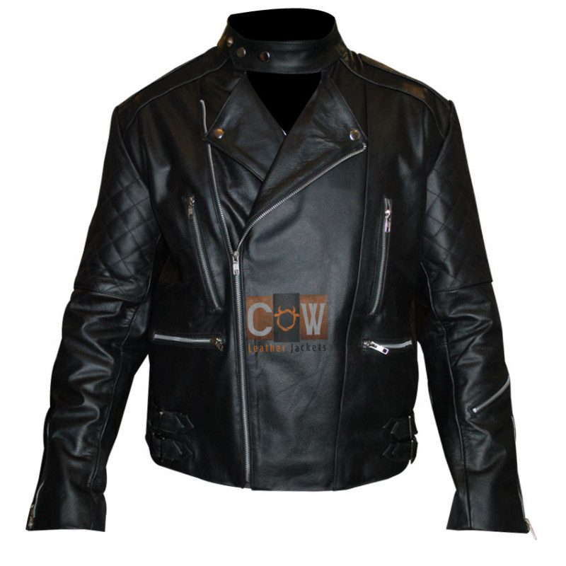 Mens Brando Black Motorcycle Leather Jacket for Sale
