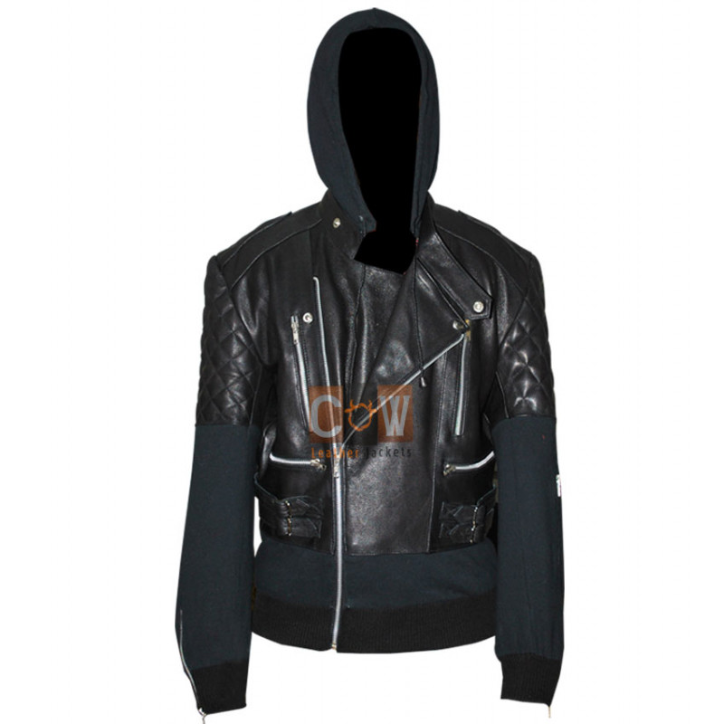 Chris Brown Bomber Black Outfit Leather Jacket for Sale