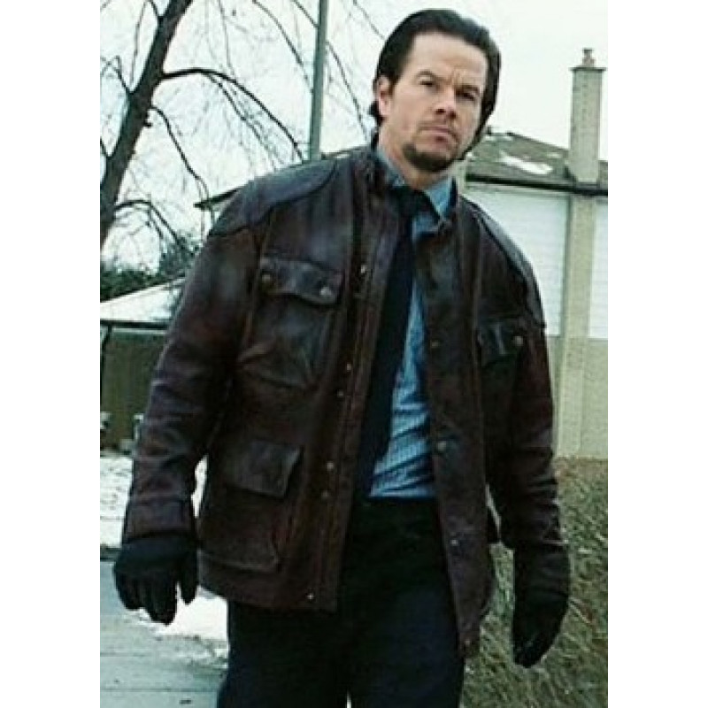 Four Brothers Mark Wahlberg Distressed Leather Jacket for Sale