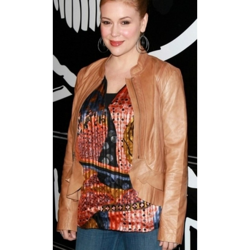 Alyssa Milano Charming Leather Jacket
