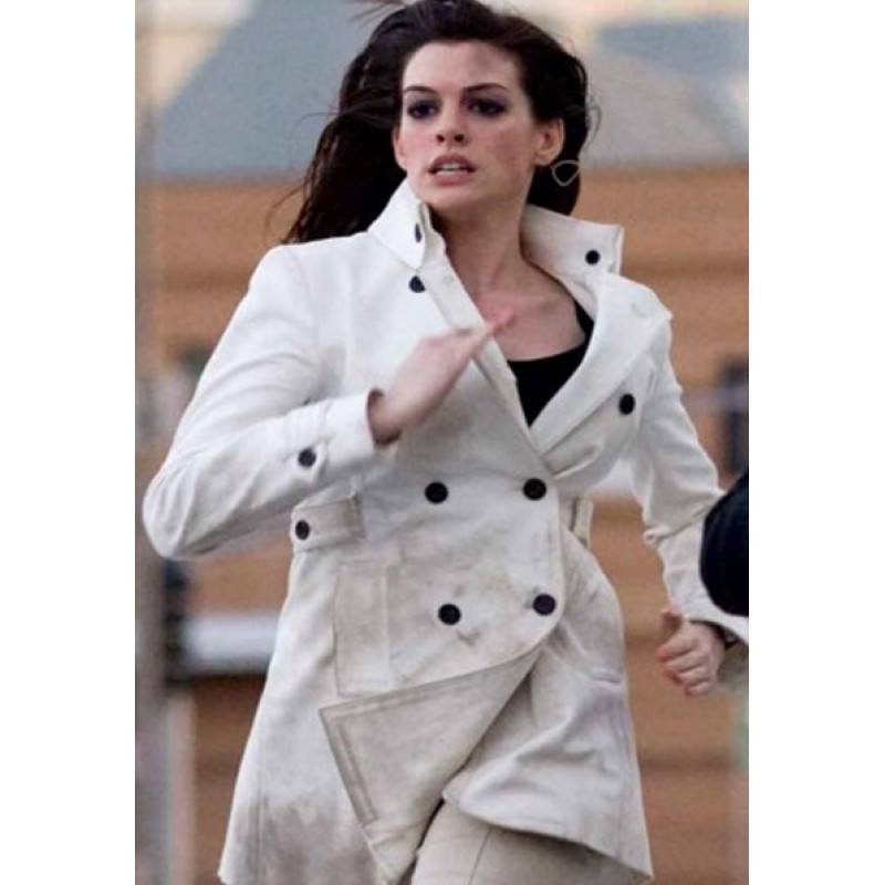 Anne  Hathway Get Smart White Leather Coat
